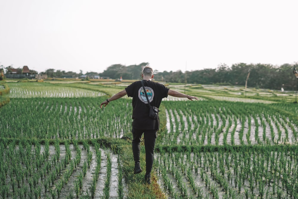 man in black crew neck t-shirt standing on green grass field during daytime