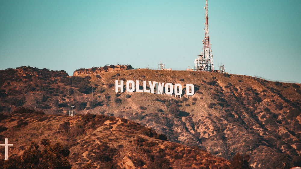brown and white hollywood sign