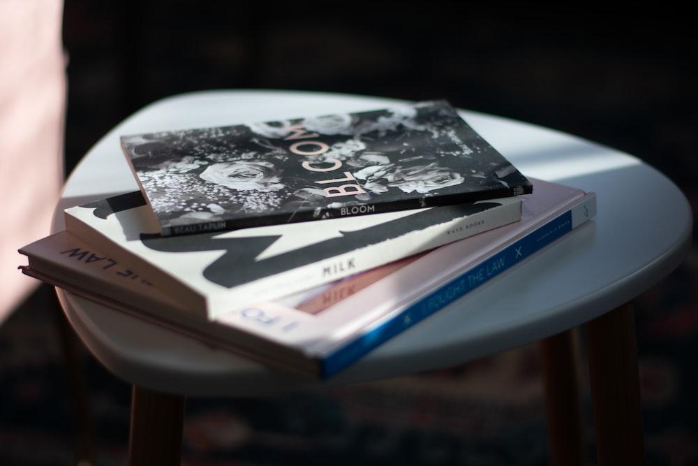vinyl record on white book
