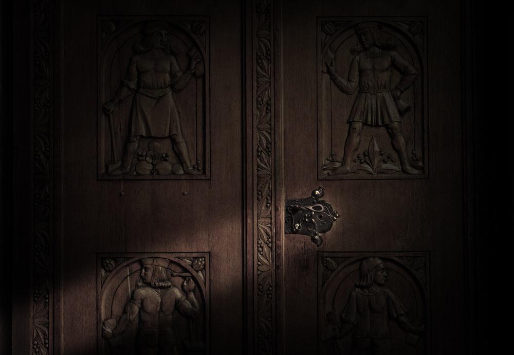 brown wooden door with gold door lever