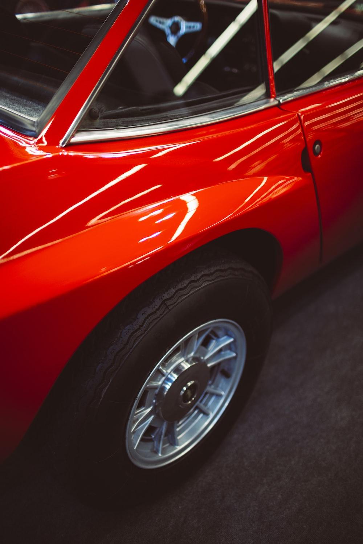 red and white ferrari car