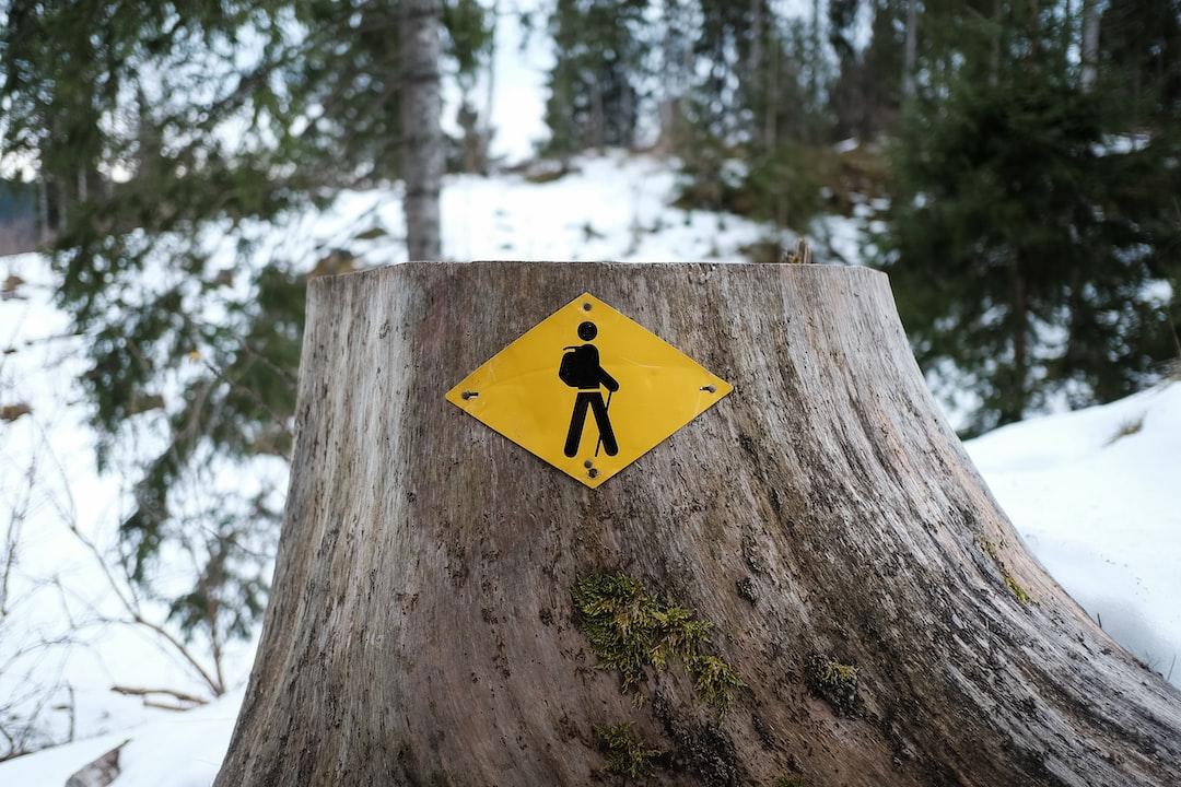Yellow hiking sign in the Jura put on the trunk of a tree  Signe de randonnée pédestre jaune dans le Jura, posé sur un tronc d'arbre
