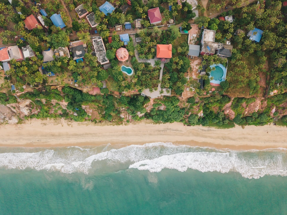 drone view of the beach in kozhikode