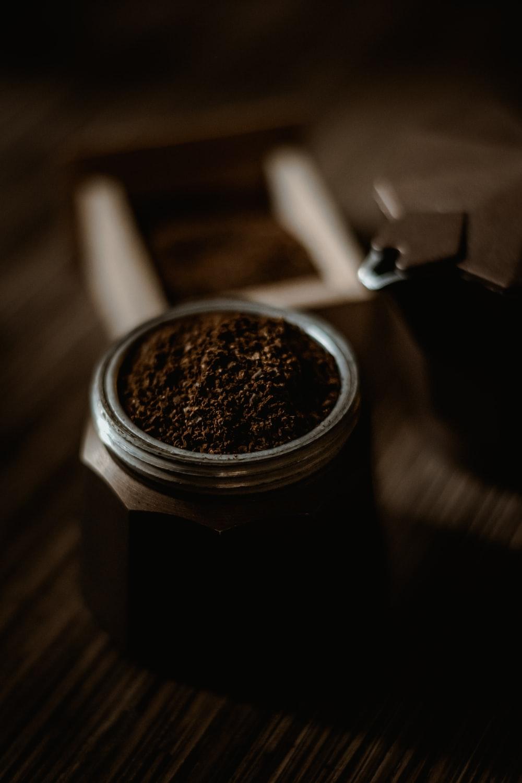 black and silver coffee mug