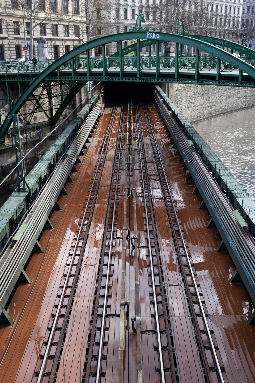 """Subway bridge over """"Donaukanal"""" in Vienna"""