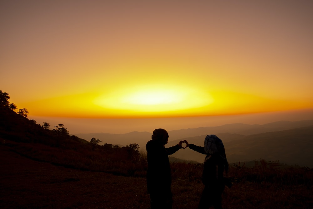 silhouette of 2 person standing on hill during sunset