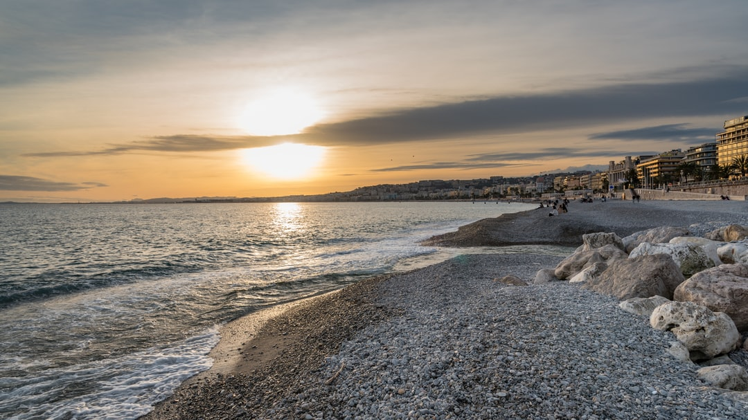 Sunset on the Bay of Angels in Nice, France