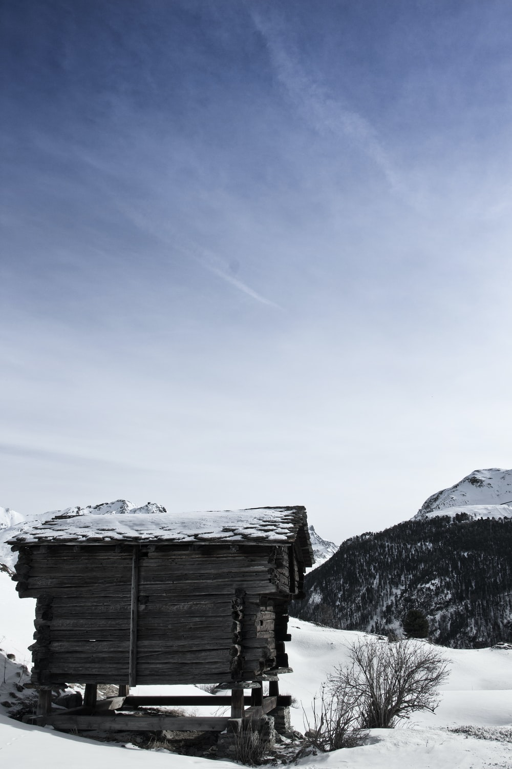 brown wooden house on snow covered ground during daytime
