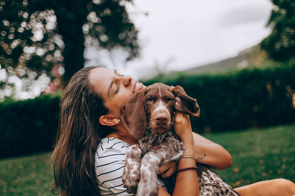 woman in white and black stripe tank top hugging brown and white short coated dog