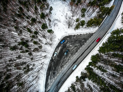 Aerial view of a road at Schliersee, Germany