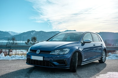VW Golf R in front of the Tegernsee, Germany