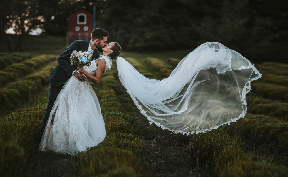 bride and groom kissing on green grass field during daytime
