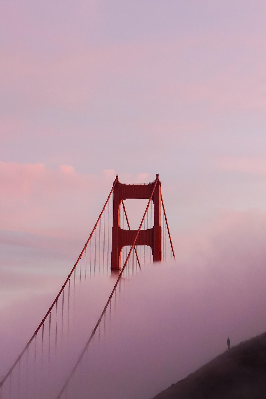 golden gate bridge under white clouds