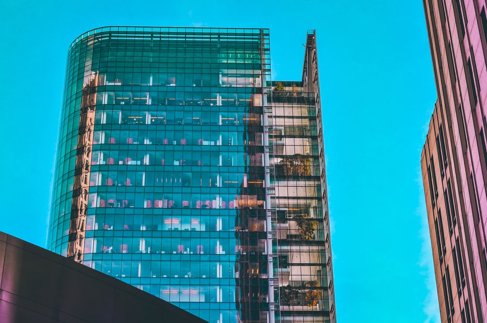 red and blue high rise building