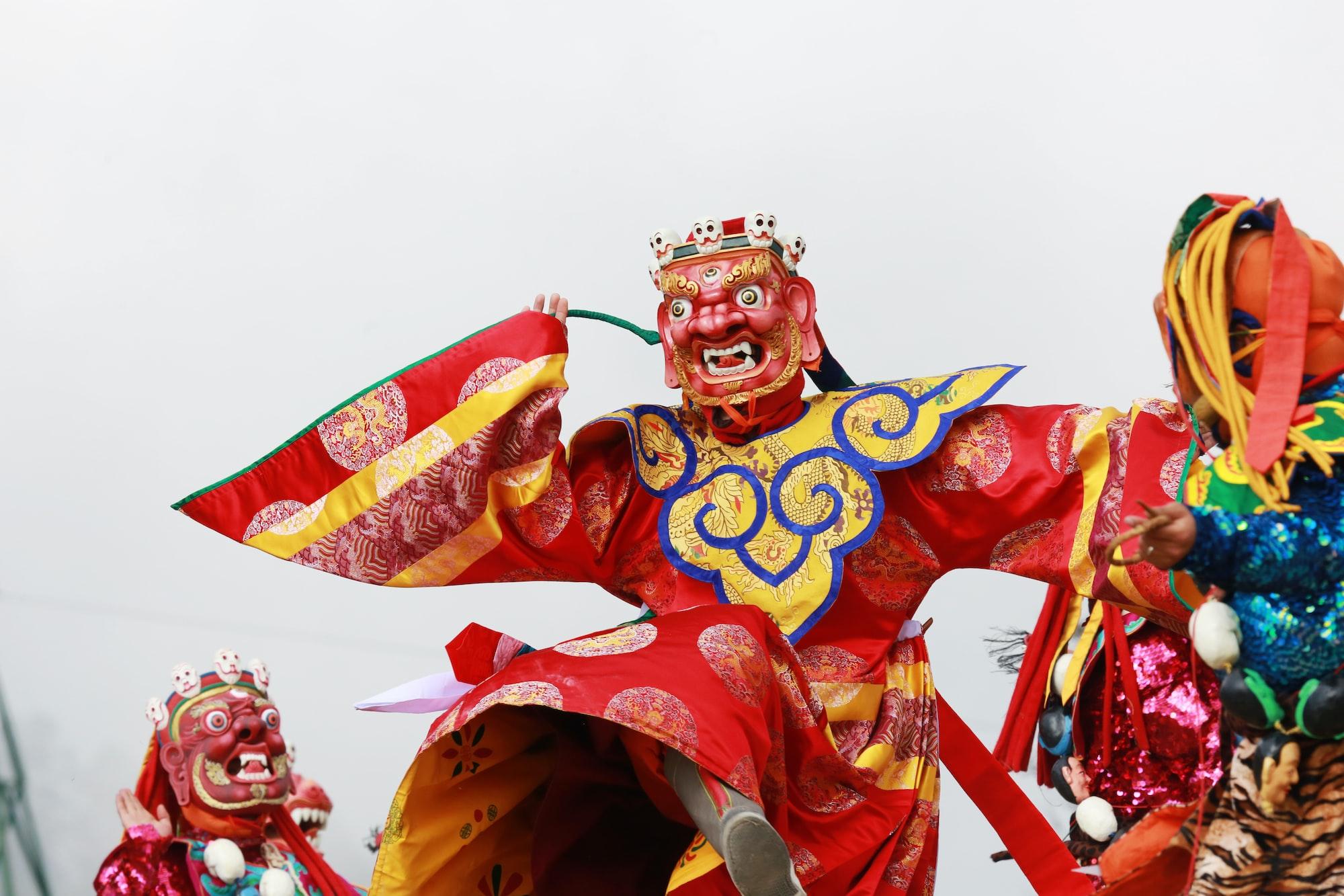 Masked dance of Dochula Tsechu in Thimphu, Bhutan