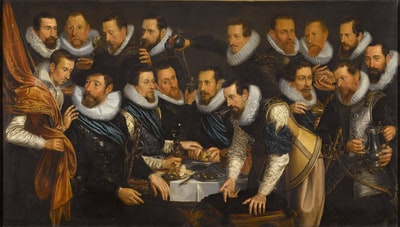 group of people sitting on chair painting baroque teams background
