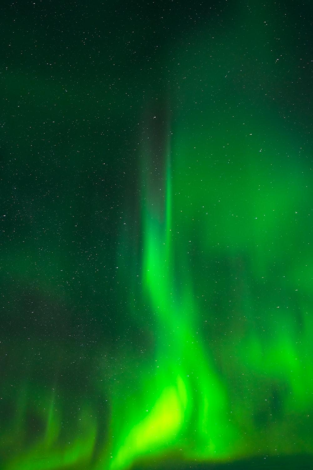 green light in dark room