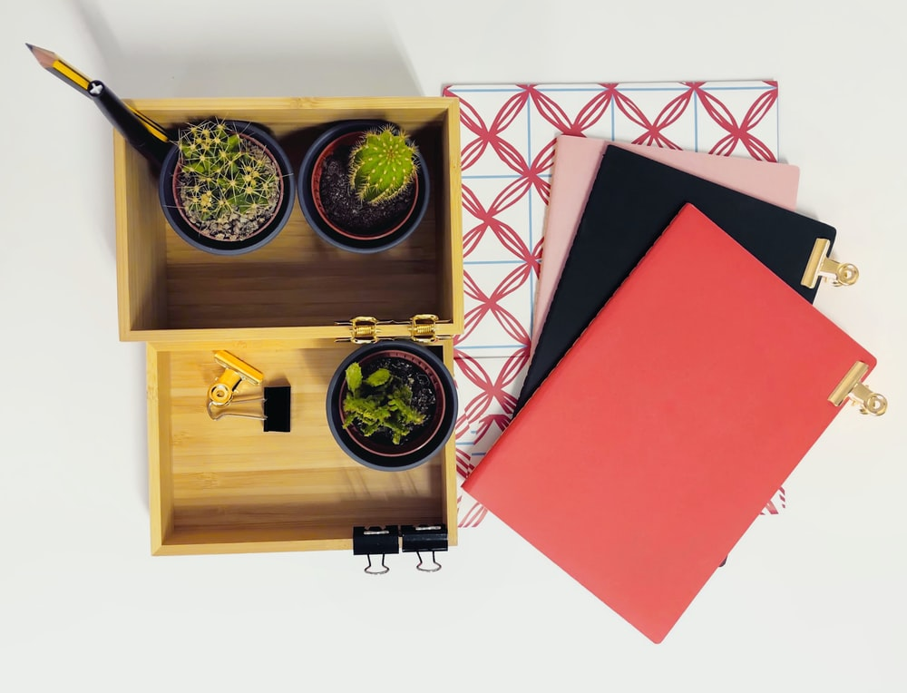red and brown wooden box