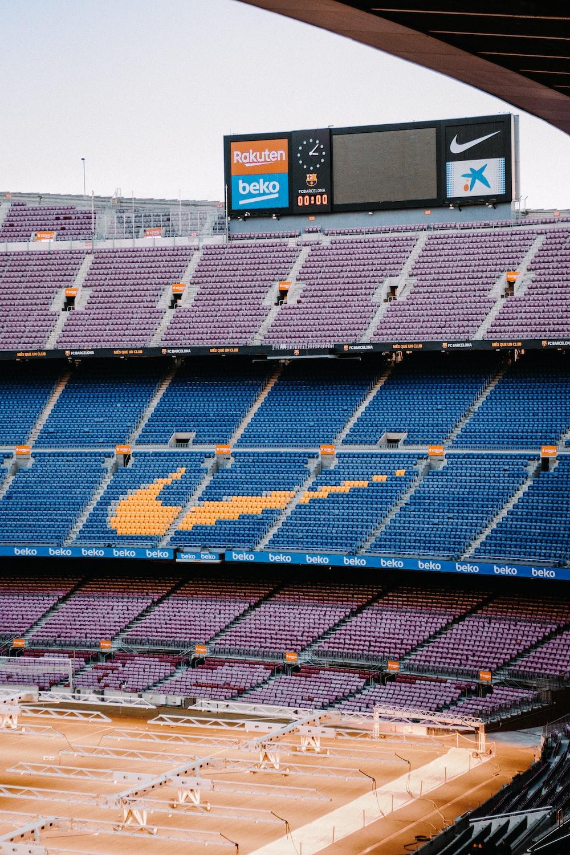 Blue And White Stadium Seats Photo Free Stadium Image On Unsplash