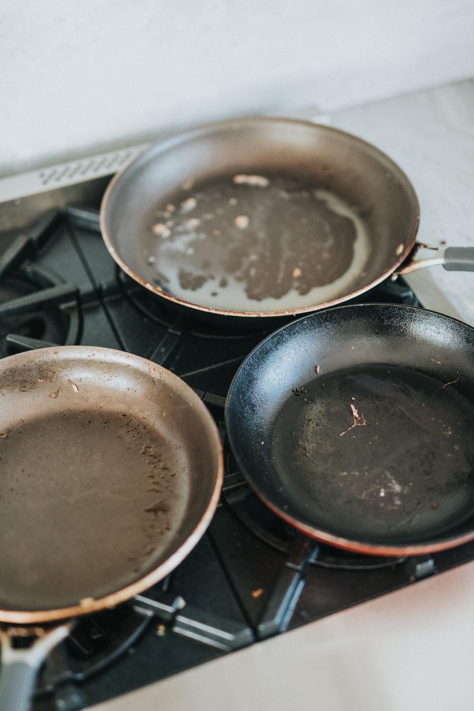 black frying pan on stove