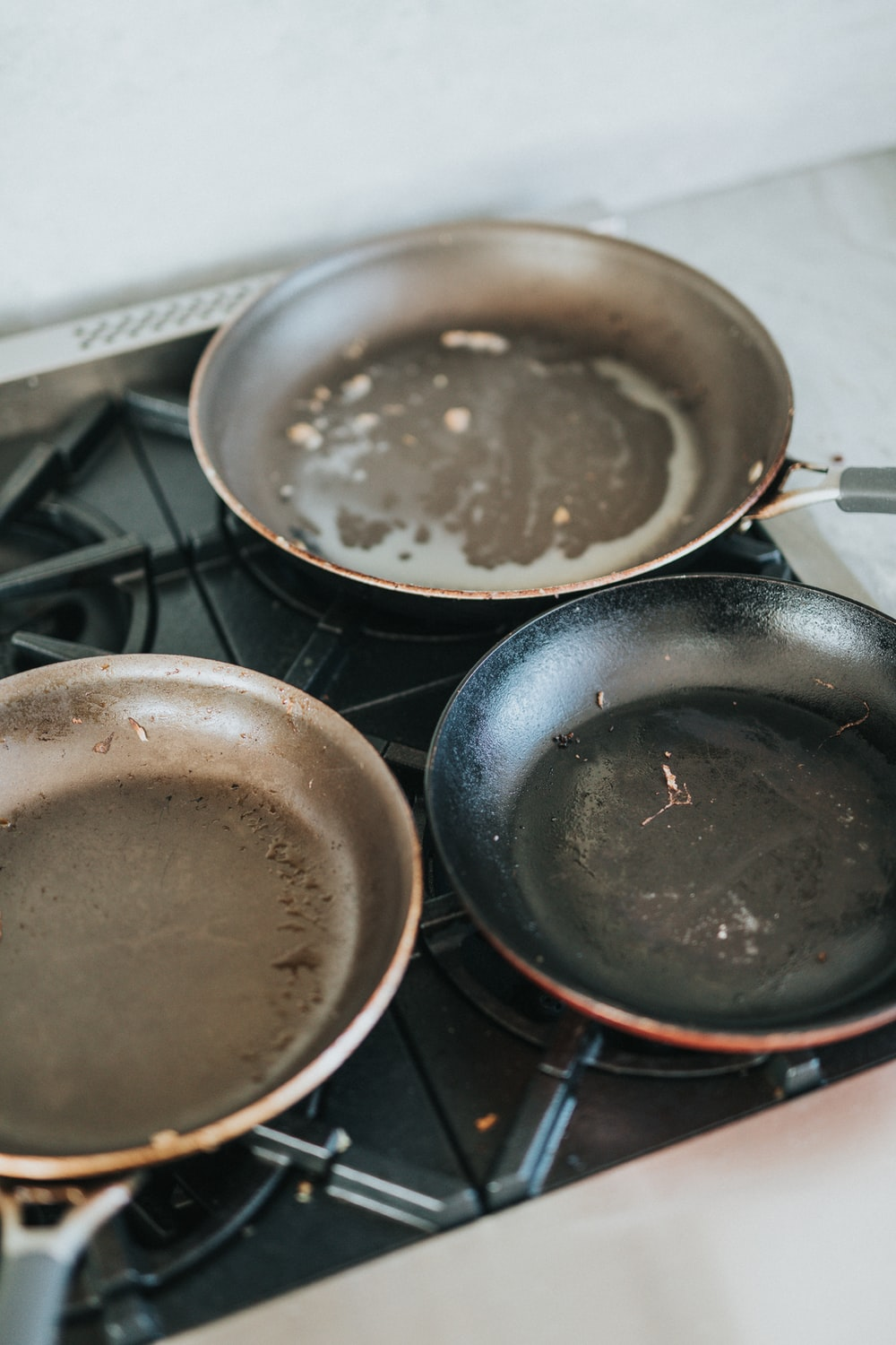 black frying pan on stove