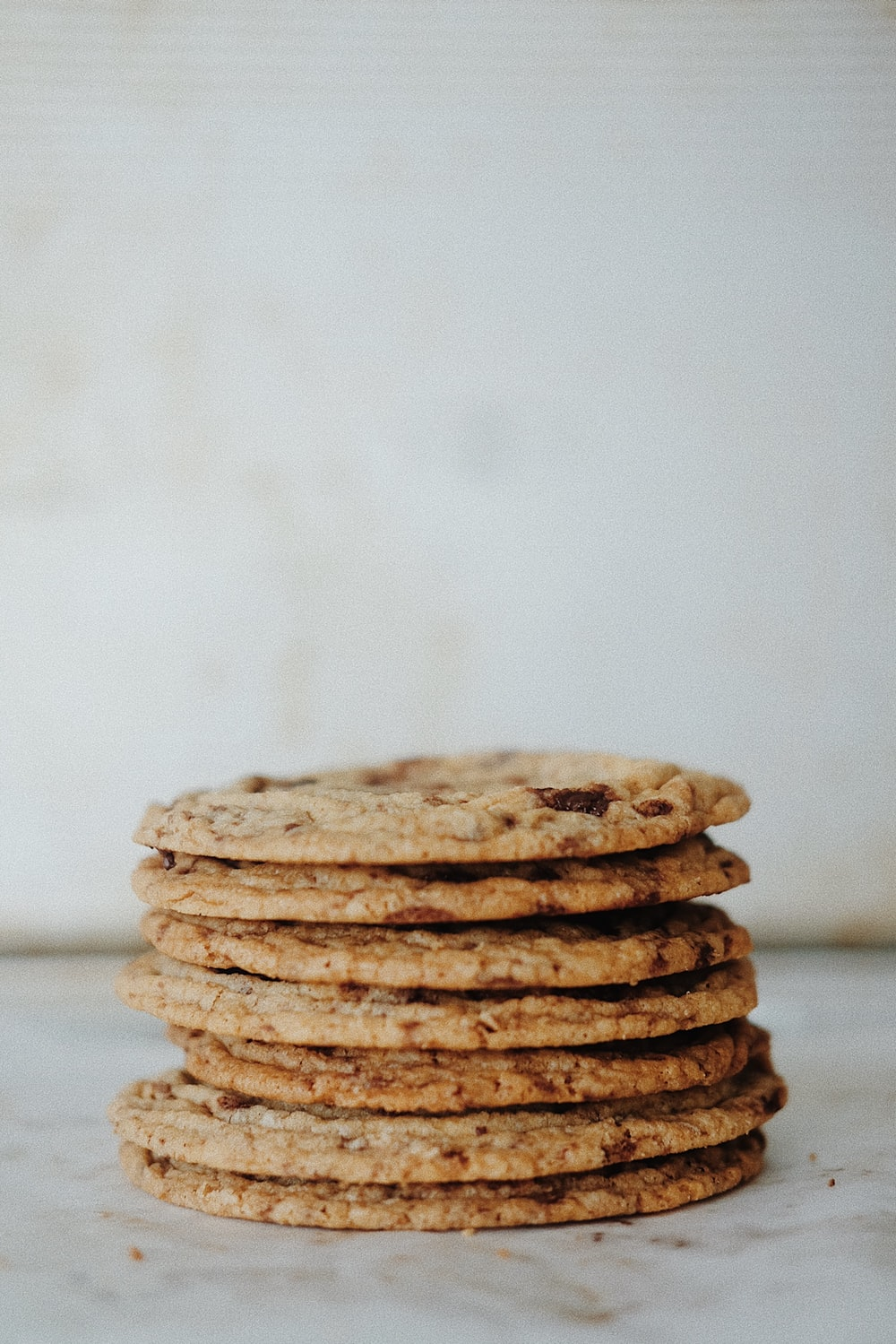 stack of cookies on white table