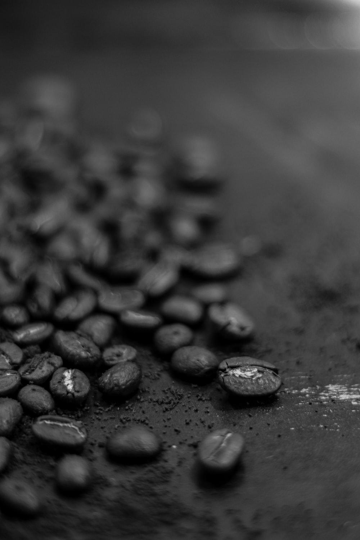 black stones on gray surface