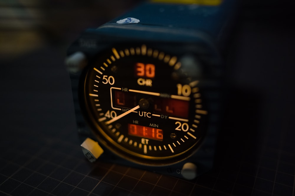 blue and yellow digital watch
