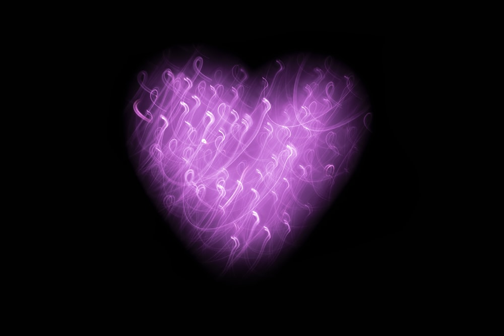 purple heart with black background