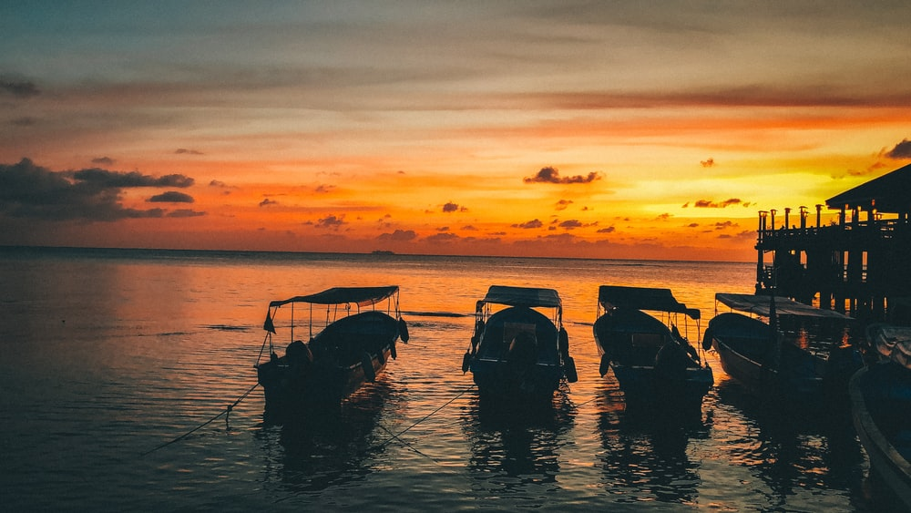 silhouette of people riding on boat during sunset