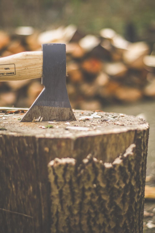 brown wooden handle on brown wood