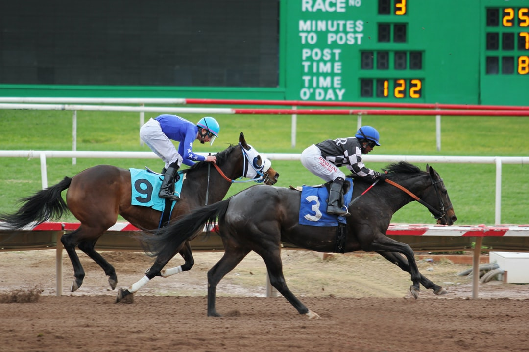 Two racehorses race on a racetrack.