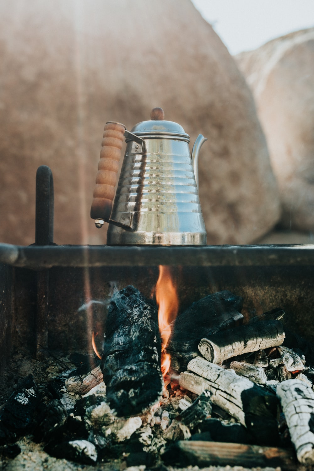 stainless steel kettle on fire
