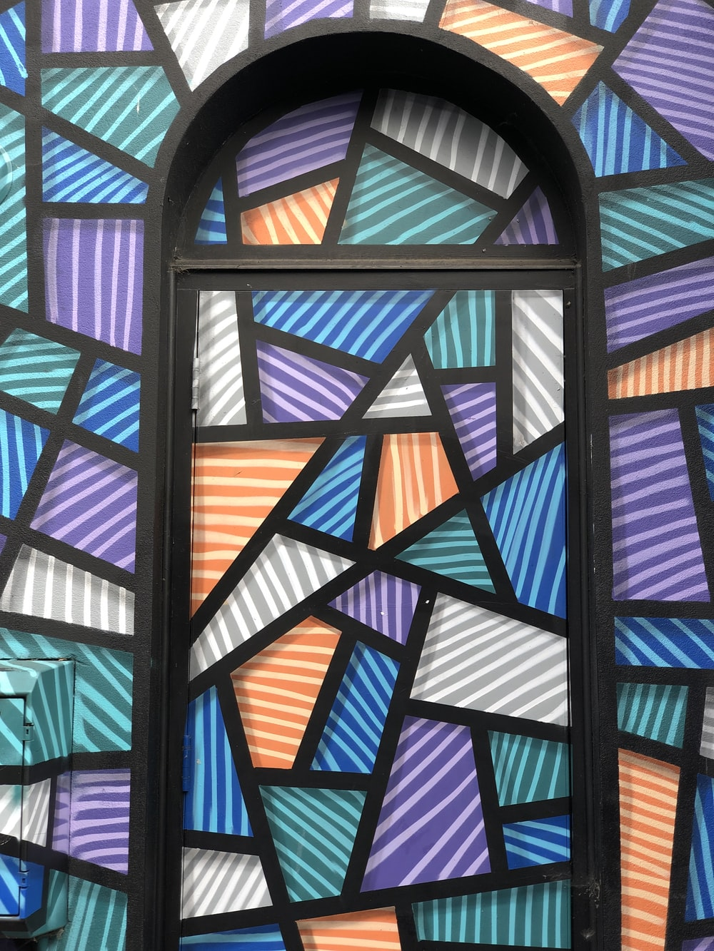 red blue and black glass window