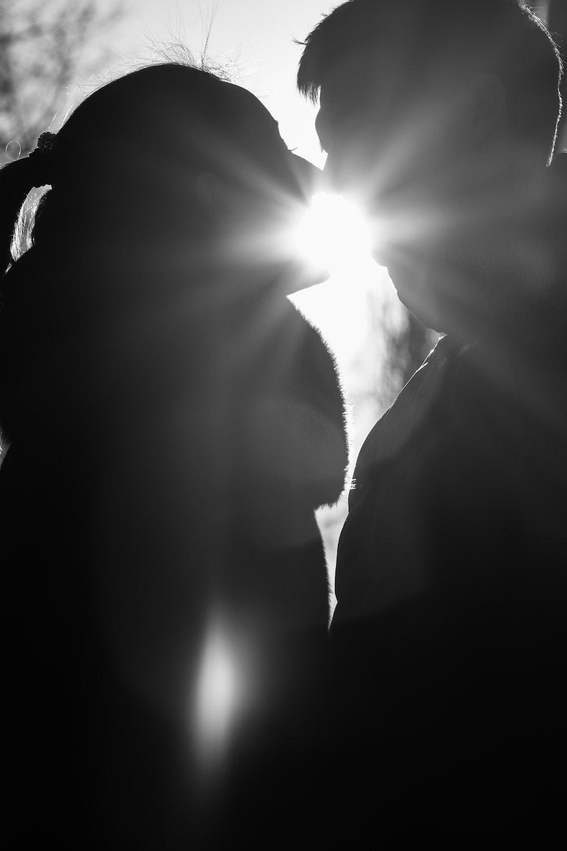 grayscale photo of sun light