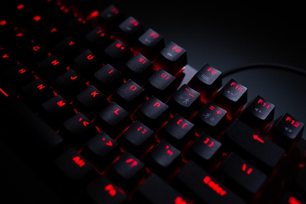 black and orange computer keyboard