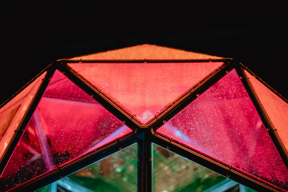 red and brown umbrella in close up photography