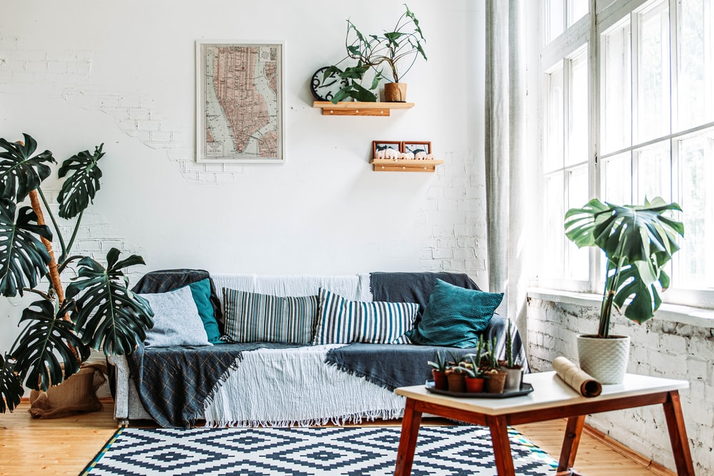 Blue And White Striped Sofa Photo