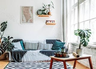 blue and white striped sofa