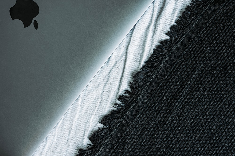black and white knit textile