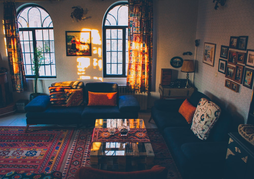 brown and black floral sofa