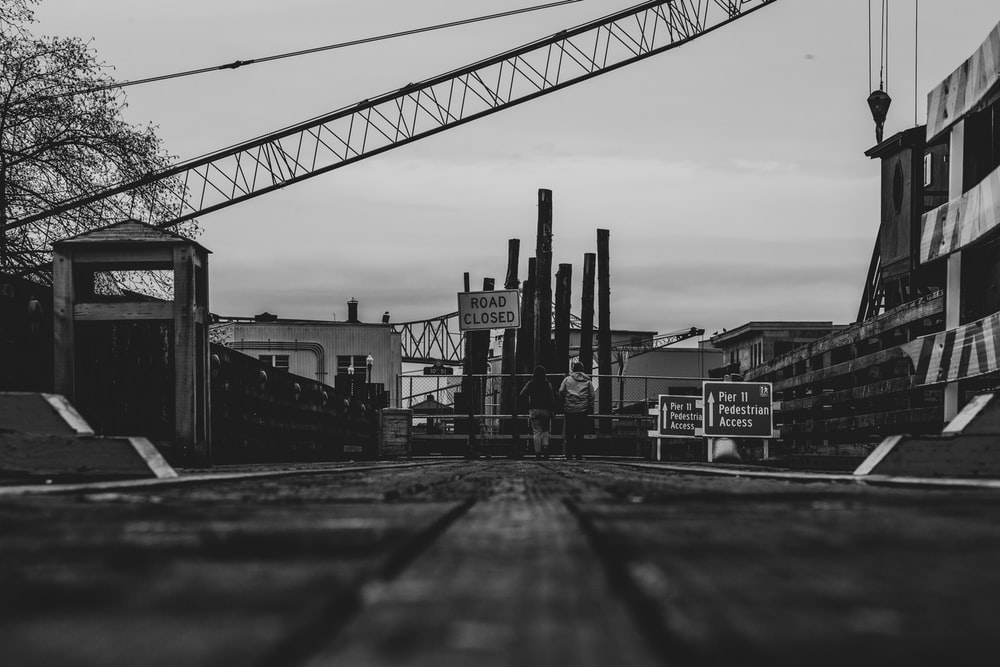 grayscale photo of bridge near buildings