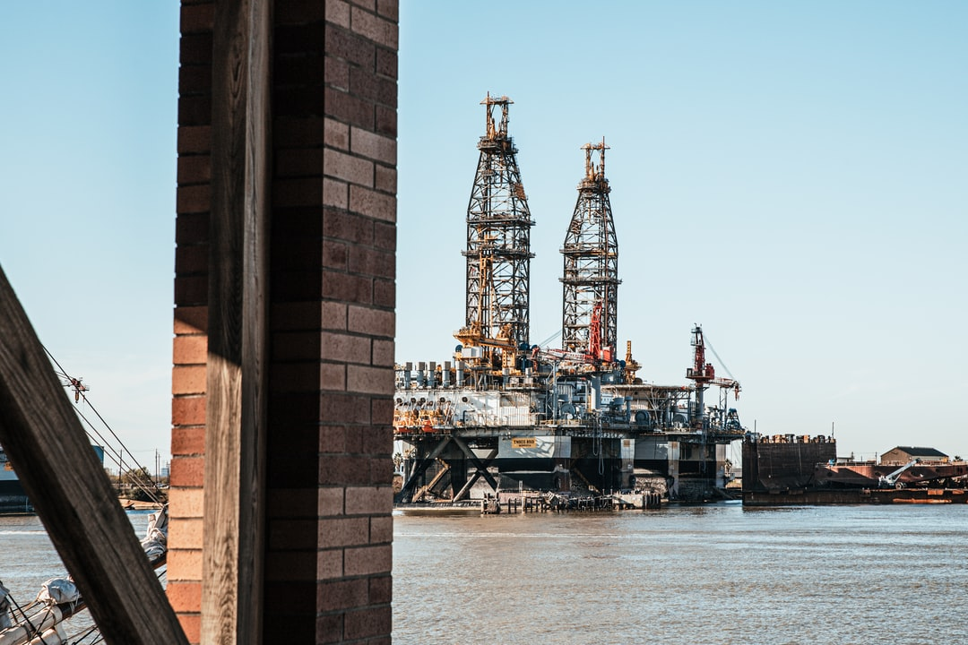 Shipping channel with offshore drilling platforms at Galveston, TX