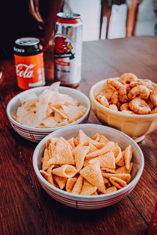 fried food on white ceramic bowl