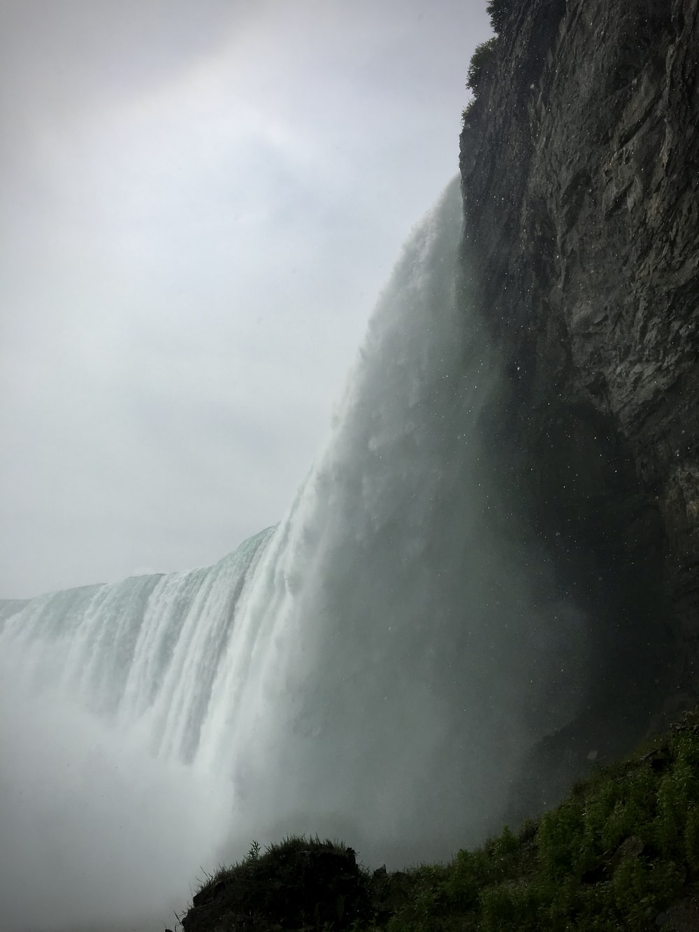 waterfalls under white cloudy sky during daytime