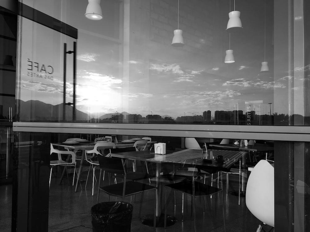 black and white photo of restaurant