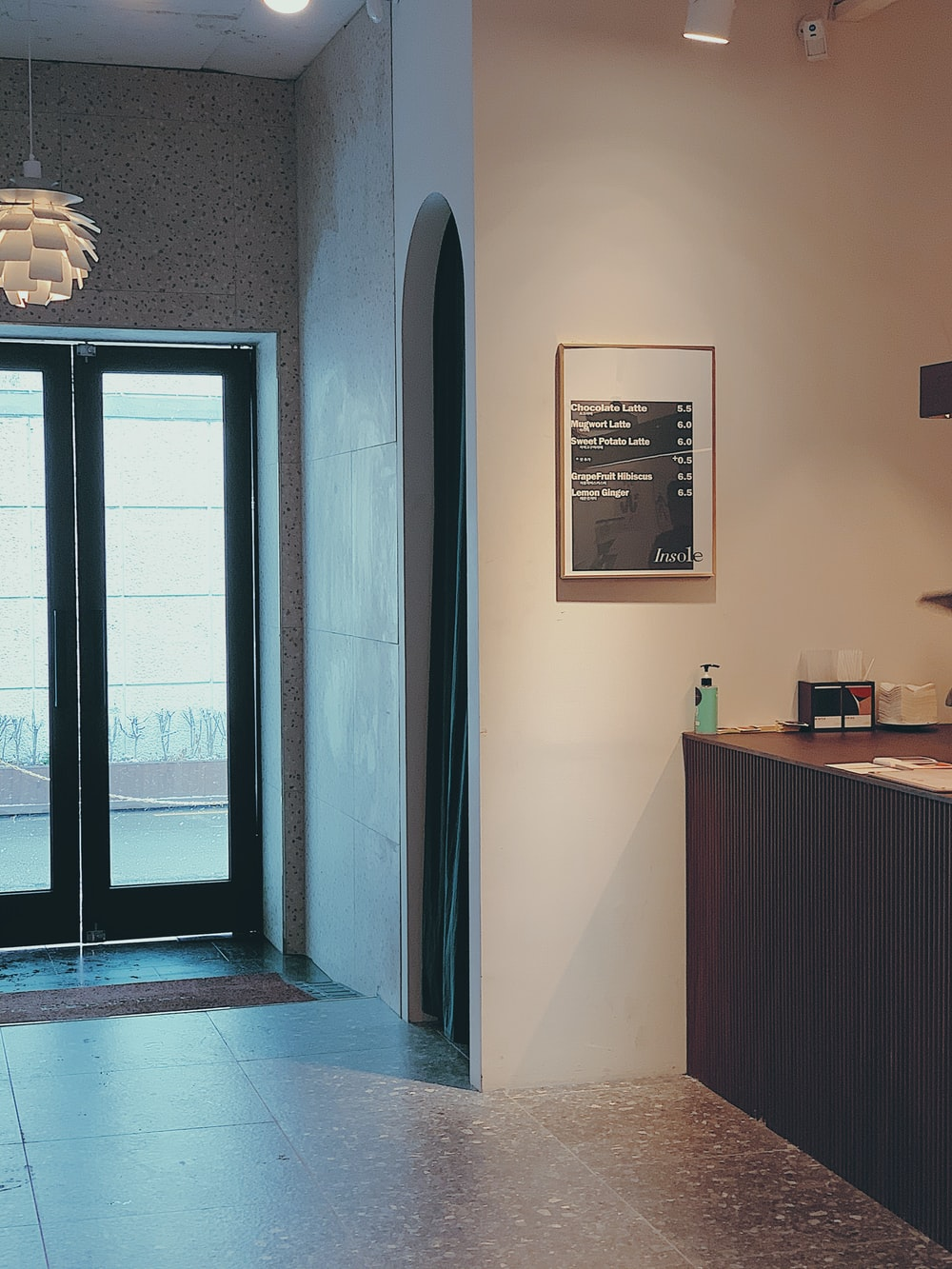 black framed glass door closed