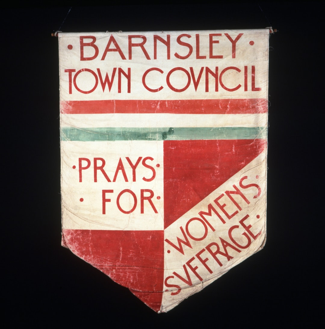 Suffrage banner, Barnsley Town Council prays for Women's suffrage. 1908-1914. F06A