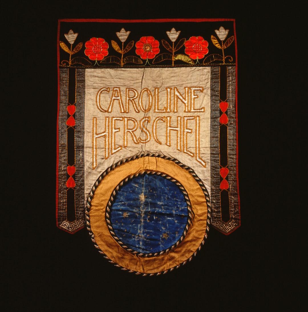 Suffrage banner, Caroline Herschel. Artist, Mary Lowndes. 1908. F05A
