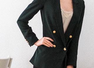 woman in black blazer and black mini dress